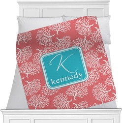 "Coral & Teal Fleece Blanket - Twin / Full - 80""x60"" - Double Sided (Personalized)"