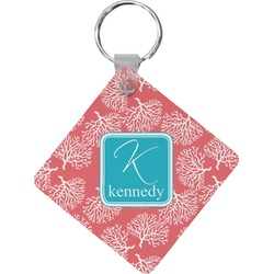 Coral & Teal Diamond Key Chain (Personalized)