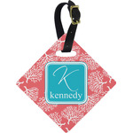 Coral & Teal Diamond Luggage Tag (Personalized)