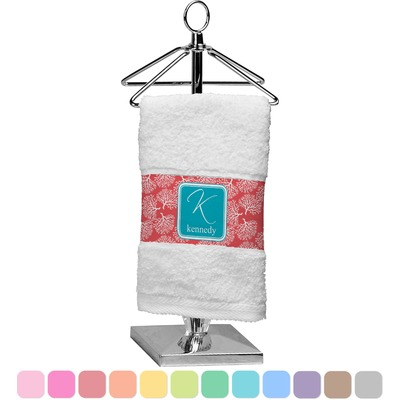Coral & Teal Finger Tip Towel (Personalized)