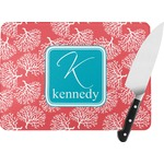 Coral & Teal Rectangular Glass Cutting Board (Personalized)