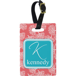 Coral & Teal Rectangular Luggage Tag (Personalized)