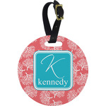 Coral & Teal Round Luggage Tag (Personalized)