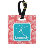 Coral & Teal Square Luggage Tag (Personalized)