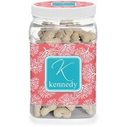 Coral & Teal Pet Treat Jar (Personalized)