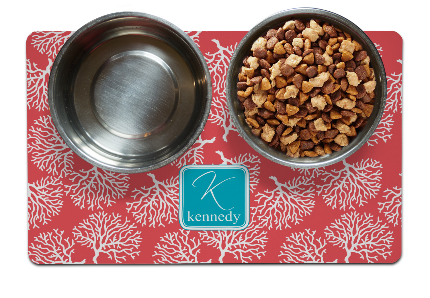 Coral Amp Teal Pet Bowl Mat Personalized Youcustomizeit