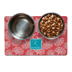 Coral & Teal Dog Food Mat (Personalized)