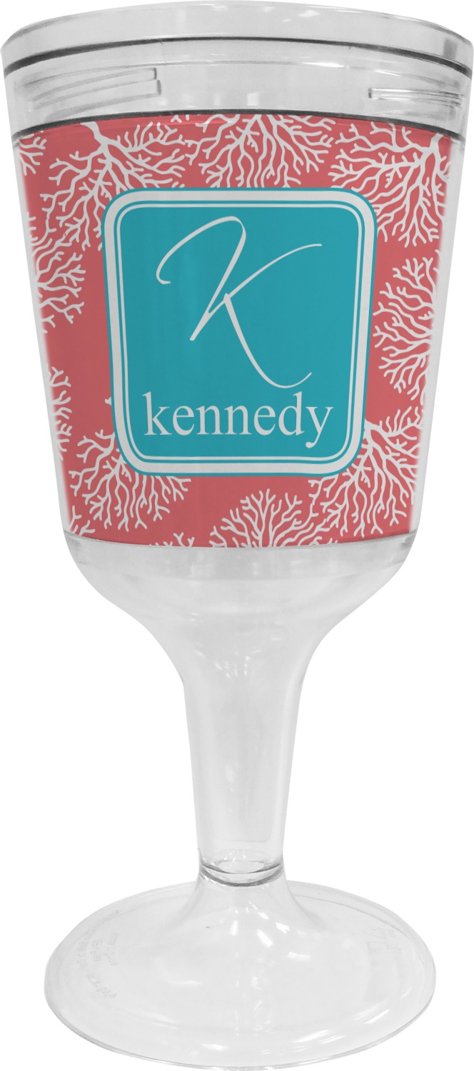 Coral Teal Wine Tumbler 11 Oz Plastic Personalized
