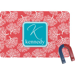 Coral & Teal Rectangular Fridge Magnet (Personalized)
