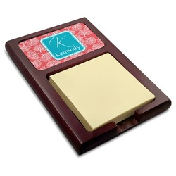 Coral & Teal Red Mahogany Sticky Note Holder (Personalized)