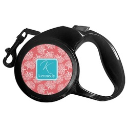 Coral & Teal Retractable Dog Leash (Personalized)