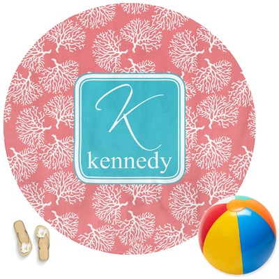 Coral Amp Teal Round Beach Towel Personalized Youcustomizeit