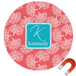 Coral & Teal Round Car Magnet (Personalized)