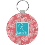 Coral & Teal Round Keychain (Personalized)