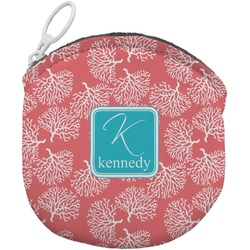 Coral & Teal Round Coin Purse (Personalized)