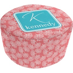 Coral & Teal Round Pouf Ottoman (Personalized)