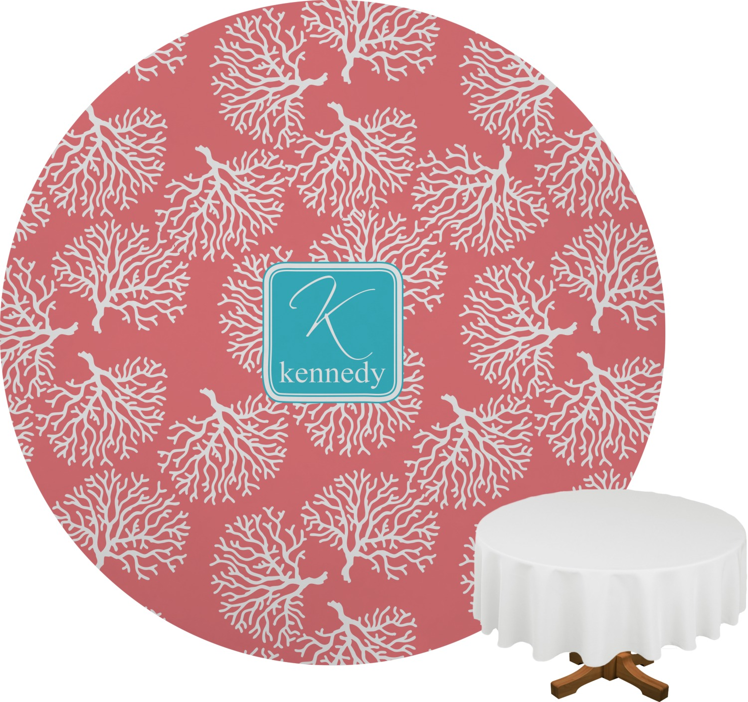 Coral U0026 Teal Round Tablecloth (Personalized)