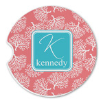 Coral & Teal Sandstone Car Coasters (Personalized)