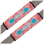 Coral & Teal Seat Belt Covers (Set of 2) (Personalized)