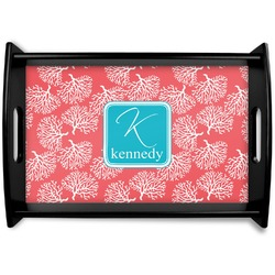Coral & Teal Black Wooden Tray (Personalized)