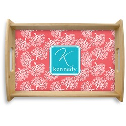 Coral & Teal Natural Wooden Tray (Personalized)