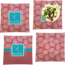 """Coral & Teal Set of 4 Glass Square Lunch / Dinner Plate 9.5"""" (Personalized)"""