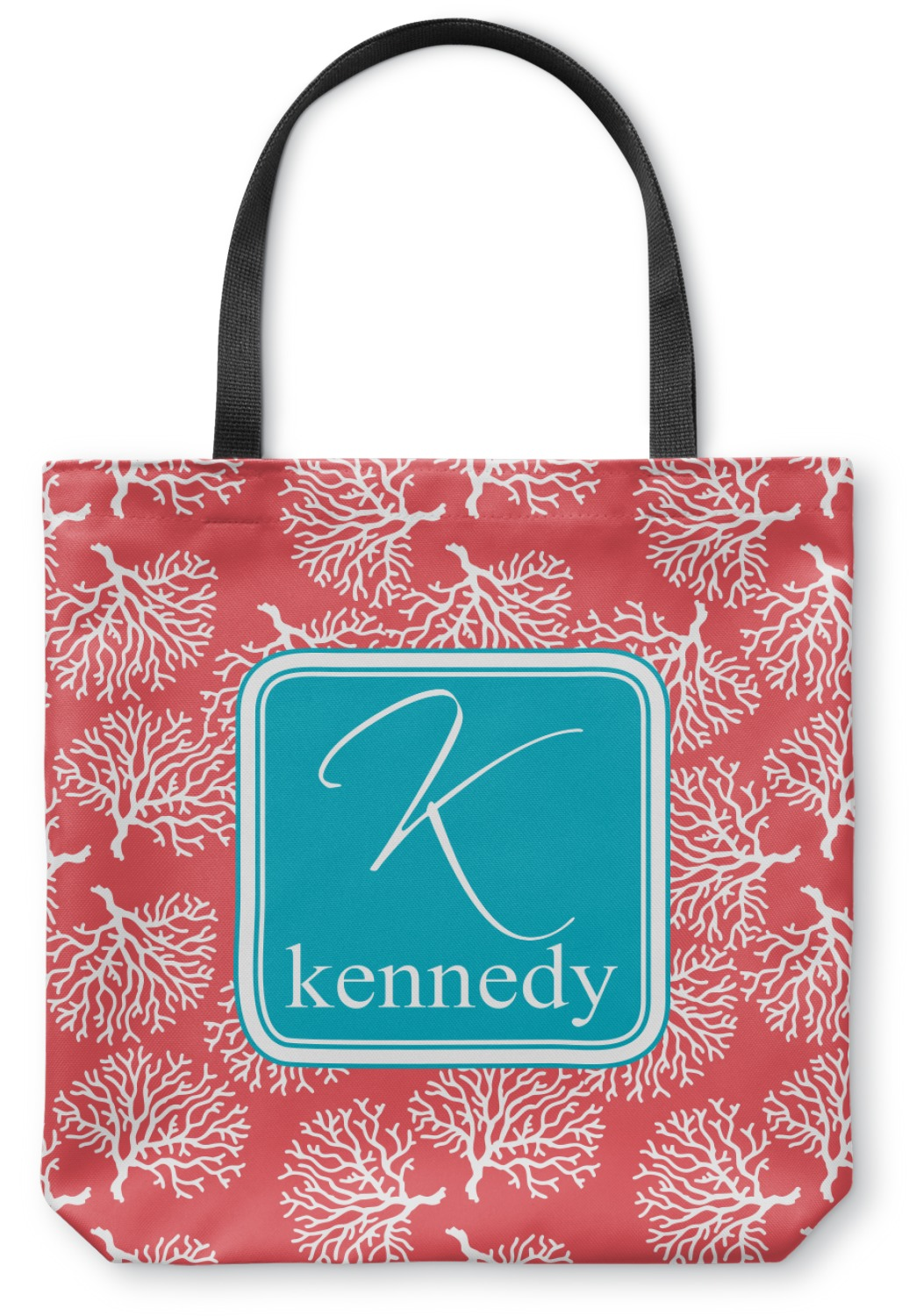 Coral Amp Teal Canvas Tote Bag Personalized Youcustomizeit