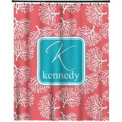 """Coral & Teal Extra Long Shower Curtain - 70""""x84"""" (Personalized)"""