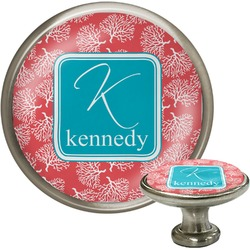 Coral & Teal Cabinet Knob (Silver) (Personalized)