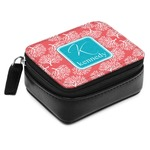 Coral & Teal Small Leatherette Travel Pill Case (Personalized)