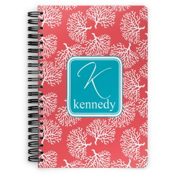 Coral & Teal Spiral Bound Notebook (Personalized)