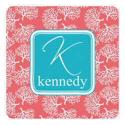 Coral & Teal Square Decal - Large (Personalized)