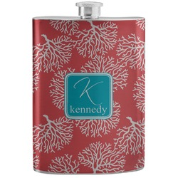 Coral & Teal Stainless Steel Flask (Personalized)