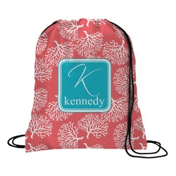 Coral & Teal Drawstring Backpack (Personalized)