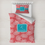 Coral & Teal Toddler Bedding w/ Name and Initial