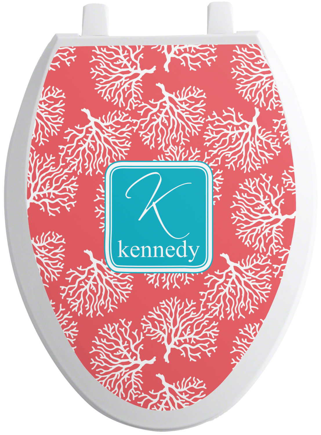 Coral Amp Teal Toilet Seat Decal Personalized Youcustomizeit