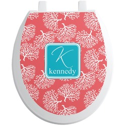 Coral & Teal Toilet Seat Decal (Personalized)