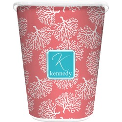 Coral & Teal Waste Basket - Single Sided (White) (Personalized)