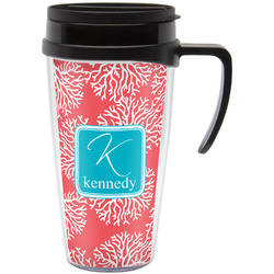Coral & Teal Travel Mug with Handle (Personalized)