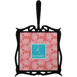 Coral & Teal Trivet with Handle (Personalized)