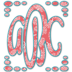 Coral & Teal Monogram Decal - Custom Sizes (Personalized)