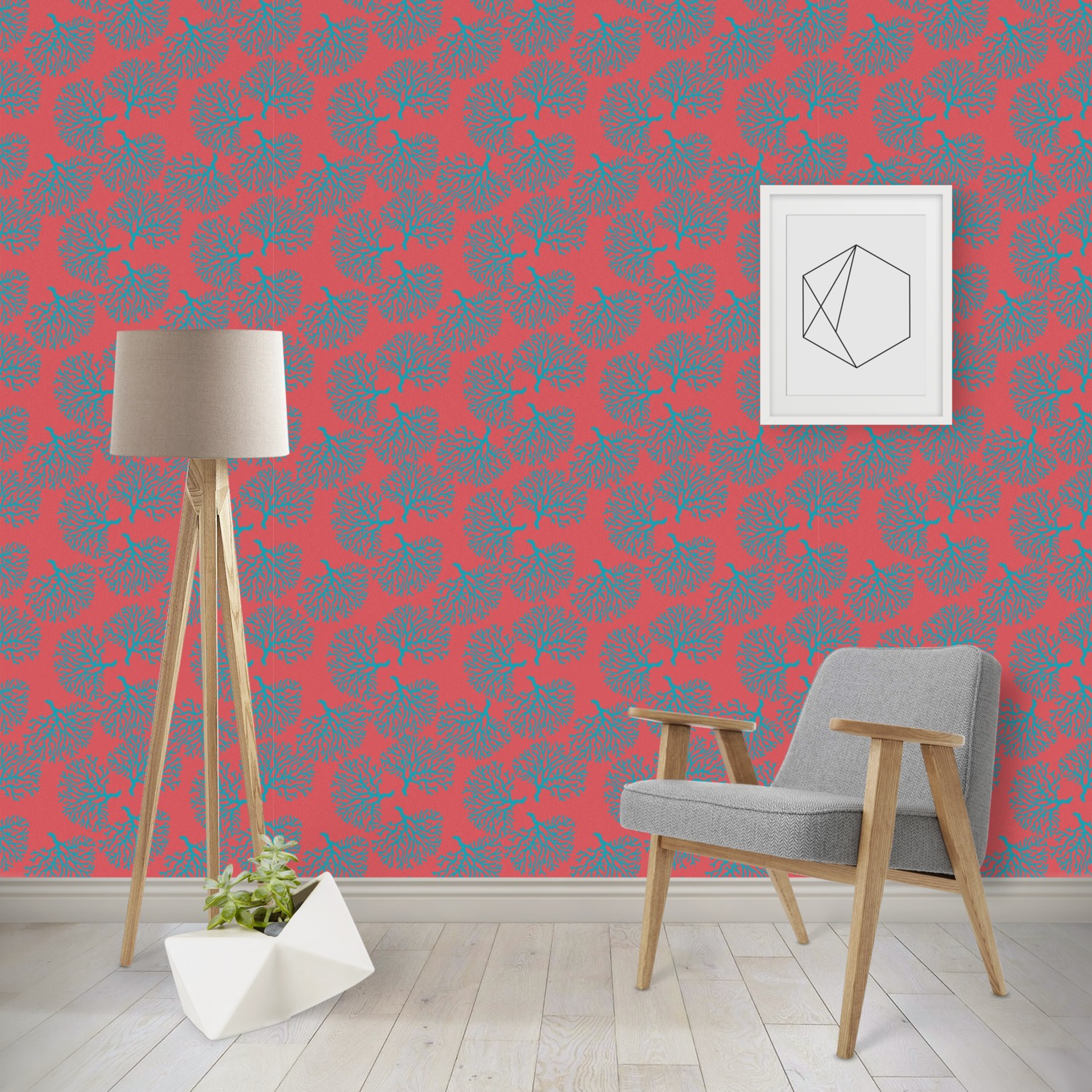 Coral Teal Wallpaper Surface Covering Water Activated