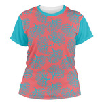 Coral & Teal Women's Crew T-Shirt (Personalized)