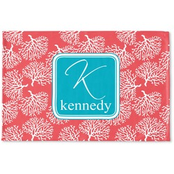 Coral & Teal Woven Mat (Personalized)