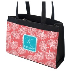 Coral & Teal Zippered Everyday Tote (Personalized)