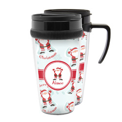 Santa Clause Making Snow Angels Acrylic Travel Mugs (Personalized)