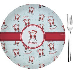 "Santa Claus Glass Appetizer / Dessert Plates 8"" - Single or Set (Personalized)"
