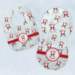 Santa Clause Making Snow Angels Baby Bib & Burp Set w/ Name or Text
