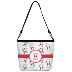 Santa Claus Bucket Bag w/ Genuine Leather Trim (Personalized)