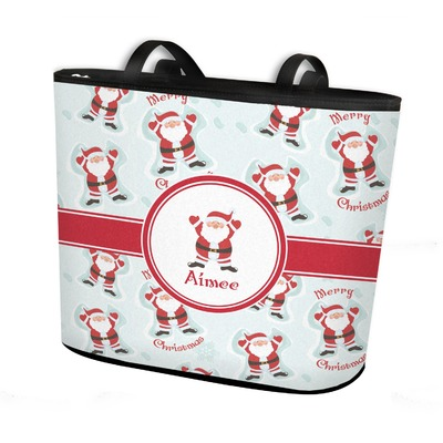 Santa Claus Bucket Tote w/ Genuine Leather Trim (Personalized)